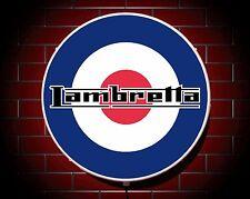 LAMBRETTA LED 600mm ILLUMINATED WALL LIGHT CAR BADGE GARAGE SIGN LOGO MAN CAVE