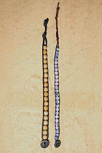 B1 ~ 2 Brown Cord & Mixed Bead Bracelets ~ Blue Yellow Purple Beige White Silver