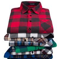 HOT SALE Men Slim Fit Flannel Long Sleeve Plaid Shirt Dress Casual Shirts Tops