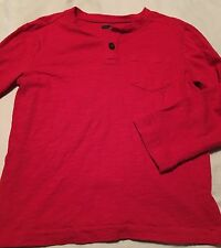 Crazy 8 Boys Long Sleeve Henley Shirt Size Small 5-6 Red
