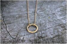 Karma Eternity Circle 14k Plated Gold Necklace. Great Bridesmaid / Birthday Gift