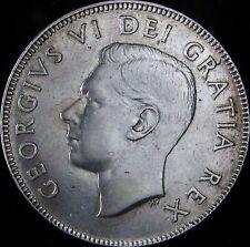 1952 XF+ (AU-)  Canada Silver 50 Cents (Fifty, Half) - KM# 45 - Free Ship - JG