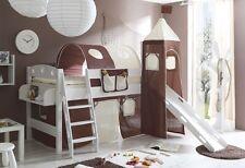Lit mezzanine avec toboggan et tour KENNY Pin teinté blanc tissus Marron-Beige