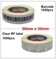 8.2Mhz Eas Anti theft Barcode + Clear Rf Soft Labels 30x30 Each 1000pcs Freeship