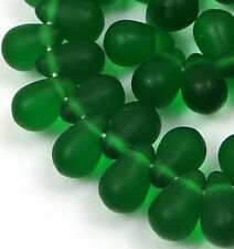 50 Czech Frosted Sea Glass Teardrop Beads -Matte - Green Emerald