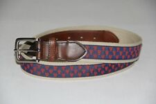 New Club Room Men's Size 34 Navy Lobster Webbing Faux Leather Casual Belt