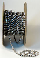 3 FT Vintage Austrian Crystal Chain 3mm Crystal/Pearls Silver Back Costumes