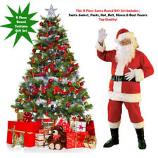 6 Pc Box Santa Claus Adult Costume Kit Suit Boot Tops Belt Hat Gloves Christmas