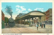 MERIDEN CONNECTICUT NEW YORK NEW HAVEN & HARTFORD RAILROAD STATION POSTCARD VIEW