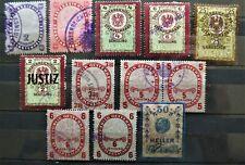 Österreich ab 1910 Revenue Stempel Fiskal Marken 12 Werte verwendet