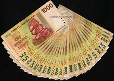 1000 Zimbabwe Dollars x 25 Bank Notes ¼ Bundle ~ Before 500 Million 100 Trillion