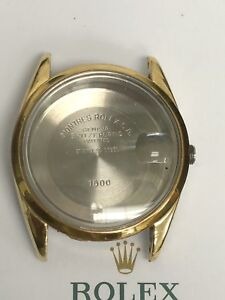 GENUINE Rolex Case 15505 Date 14 K Gold Shell, Smooth Bezel, New Xtal, Perfect