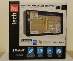 "New Dual Electronics XVM279NAV 7"" LCD Multimedia Touch Screen Double DIN Car Ste"