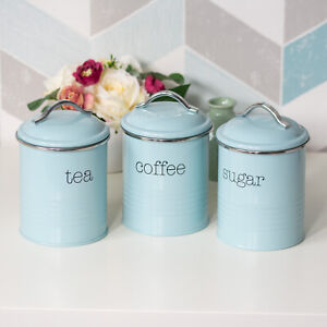 Retro Vintage Ribbed Tea Coffee Sugar Storage Canisters Set Jars Pots Containers