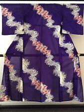 Vintage authentic Japanese see through summer kimono, purple (F685)