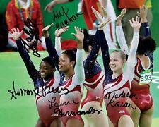 USA Gymnastics Gold Medal Rio Group Signed 8X10 Photo Rp Simone Biles Hernandez