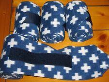 New set of 4 navy blue/white crosses horse polo wraps (horse/pony leg wraps)