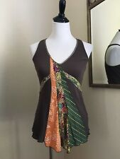 TINY for Anthropologie Patched Silk Beaded Tank Olive Ribbed XS