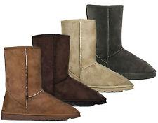 Ladies Womens Ella Mid Calf Snow Flat Boots Winter Soft Warm Faux Fur Line Size