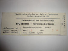 RARE Ticket Billet 1987 Girondins Bordeaux BFC Dynamo Berlin Coupe D`Europe DDR
