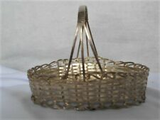 Vintage 1920s Small Metal Basket w Handle~ Candy Container Christmas Ornament #4