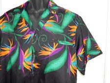 Hilo Hattie Birds of Paradise Scene Black Hawaiian Shirt Mens Size Large