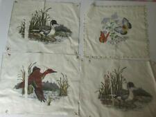 """8 pc Vintage Wild Bird Duck Fabric Panel 13"""" x 12"""" 4 Patterns Quilt Craft  f1692"""