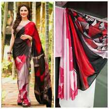 Multi Color Print Floral Saree Sari Sartin Silk Fancy Party Wear Indian Saree SL