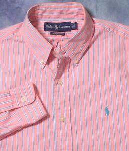 POLO RALPH LAUREN MENS L/S PINK AQUA YELLOW CLASSIC FIT DRESS SHIRT 15 1/2 34