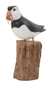 Archipelago Hand Carved Wooden Birds Small Puffin Fishing