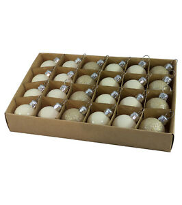 Boxes of 24 Mixed Finish Baubles - 30mm Various Colours