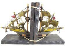 wood model Sailboat Pirate Ship sail Boat Cool Bookends nautical ocean statue