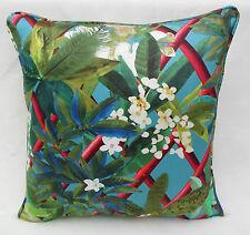 Designers Guild Fabric Cushion Cover 'Canopy' Turquoise  Nouveaux Mondes Fabrics