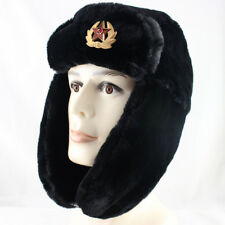 Russian Soviet Spldier Winter Army Hat Ushanka With Soviet Badge Ear Protection