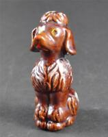 "Vintage Poodle Figurine Brown Glaze Stamped Japan Red Clay Pottery 3 1/2"" O17"