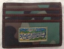 Ralph Lauren Men's Slim Credit Card Case/Wallet Camouflage Nylon Leather TrimNWT