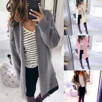 Women Long Sleeve Knitwear Open Cardigans Coat Knitted Sweater Jumper Outwear UK