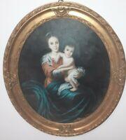 quadro maternità cornice in vero legno ovale oro dipinto a mano olio su tela