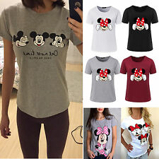 Women's Mickey Minnie Mouse Short Sleeve T-Shirts Summer Casual Slim Tee Tops