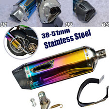 38-51mm Hot Universal Motorcycle Exhaust Muffler Pipe Silencer Stainless Steel
