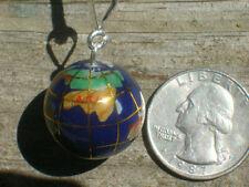 20 mm STERLING SILVER LAPIS INLAY GLOBE GEMSTONE PENDANT CHARM NECKLACE