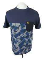Mens Fred Perry Camo T Shirt Blue Medium 40 Chest Vgc