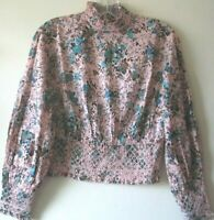 TOPSHOP TOP Blouse PINK Turquoise 1970s Peasant Victorian Peep ROSES Sz 8 NEW