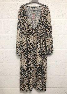 Boohoo Leopard Wrap Midi Dress - Black Brown Animal Print Summer Party - UK 24