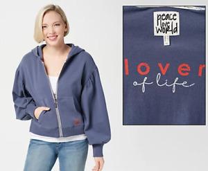 Peace Love World Womens Novelty Sleeve Hoodie - San Marino Blue - XLarge