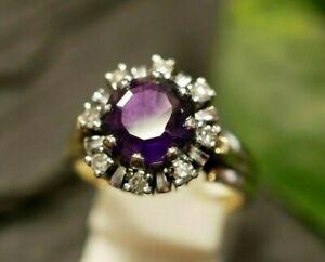 Exklusiver 585 14 K Gold Cocktail Ring 0,48 Ct 8 Diamanten Amethyst Bicolor