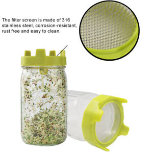 SPROUTING LIDS FITS WIDE MOUTH MASON JAR SPROUTING GROWING FILTER BEAN SPROUTS