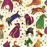Laurel Burch Dogs & Doggies Cotton Fabric Y1800-57M Cream w/ Gold Metallic BTY