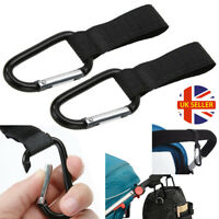 2 X Universal Buggy Mummy Clips Pram Pushchair Shopping Bag Hook Carabiner UK