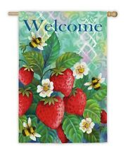 Welcome Bees & Strawberries Spring Summer Small Garden Flag Evergreen